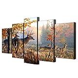 PEJHQY Cuadro en Lienzo Arte de la Pared Marco Decoración para el hogar Imágenes de la Sala de Estar 5 Piezas Ciervos Animales Paisaje del Bosque Cartel HD Impreso,Cuadro en Lienzo Lanzarote