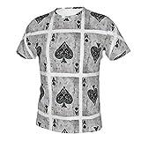 NiYoung Men's 3D Printing Vintage Ace of Spades Card Poker Lover T-Shirt, Short Sleeve Crewneck Undershirt Regular-Fit Workwear for Holiday Running Workout, Fast Dry/Sweatproof