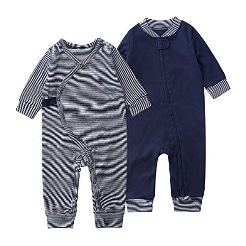 Teach Leanbh Baby 2-Pack 100% Cotton Romper Jumpsuits Two Way Zipper Long Sleeve...