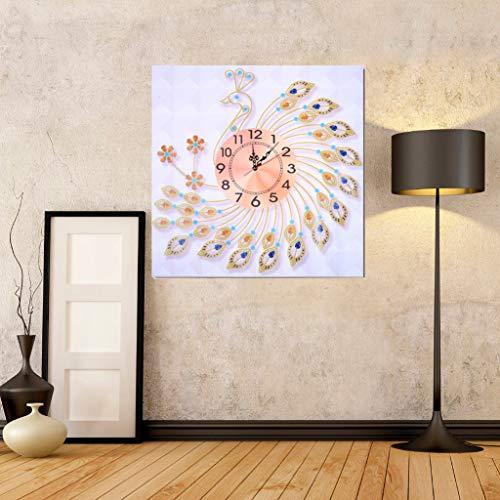 sunnymi  Strasssteine Uhr, DIY 5D Diamant Malerei Home Dekor Diamond Painting Crystal Strass Stickerei Bilder Kunst Handwerk für Home Wall Decor (Pfau öffnen, 60x60cm)