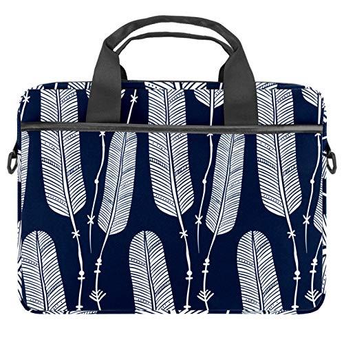 Maletín de lona para portátil de 13,4 a 14,5 pulgadas, diseño de hojas, color azul marino