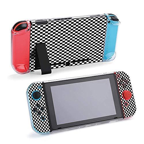 Nahtlose schwarze und weiße Fliesen kompatibel mit Nintendo Switch Konsole & Joy-Con-Schutzhülle, langlebig, flexibel, stoßdämpfend, kratzfest, Fallschutz, Schale Design14167