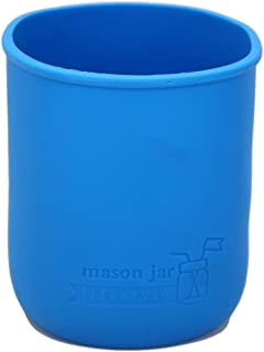 Quart 32oz Silicone Sleeves/Jackets for Protecting Ball, Kerr, Canning Jars by Mason Jar Lifestyle (Bright Blue, 2 Pack)