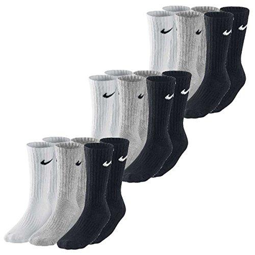 Nike 9 pares de calcetines en tallas 34-38 hasta 46-50, color blanco y negro, talla S, color: negro, blanco y gris.