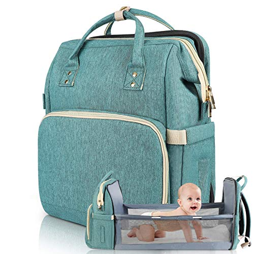 Diaper Bag Backpack Travel Bassinet Foldable Mummy Bag with Changing Pad & Stroller Straps, Large Capacity, Waterproof (Green)