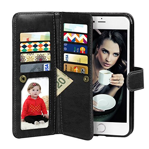 Vofolen 2-in-1 Case for iPhone 6 Case iPhone 6S Case Wallet Folio Flip PU Leather Case Protective Hard Shell Magnetic Detachable Slim Back Cover with Card Holder Slot Wrist Strap for iPhone 6 6S Black