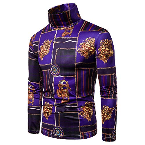 New Men's Plus Size Print high Neck Long Sleeve T-Shirt