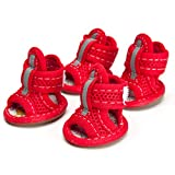 feiling hundesc Huhe transpirable mascotas Zapatos Botas de goma antideslizante–Sandalias Primavera y Verano de huellas de perro para pequeñas 4unidades Poodle Bichon Frisé