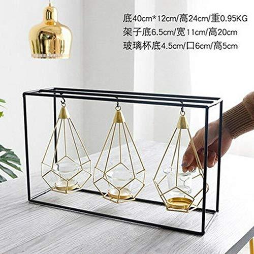 Nordic geometric iron candlestick golden chandelier romantic wedding props bedroom decorations candlestick - D
