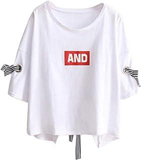 YLEJP レディース Tシャツ 半袖 ゆったり オフショルダー クルーネック tシャツ おしゃれ プリント カットソー 着痩せ トップス 大きいサイズ 個性 カジュアルシャツ 原宿風