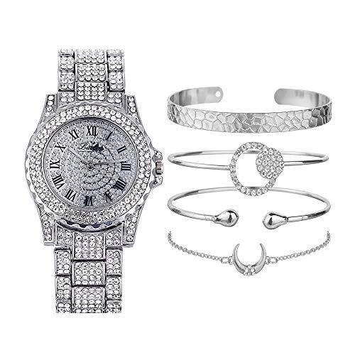 Blue98 Hip Hop Full Diamond Reloj para Mujer, Pulseras de Diamantes de imitación de Acero Inoxidable, Juego de Joyas (1 PCS Reloj + 4 PCS Pulseras)