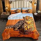 Afrika Gepard BettwäSche TröSter Wild Animal Daunen Bettbezug FüR Jungen Wildtier Braun Bettbezug 3 Teilig (1 Bettbezug 2 Kissenbezug)