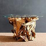 Wurzelholz Couchtisch Beistelltisch IKAL inklusive Glasplatte 80 cm | Tisch aus Wurzel fürs Wohnzimmer in Handarbeit gefertigt | Wurzelholztisch Massiv rund | Wurzeltisch von Möbel von ExotischerLeben - 3