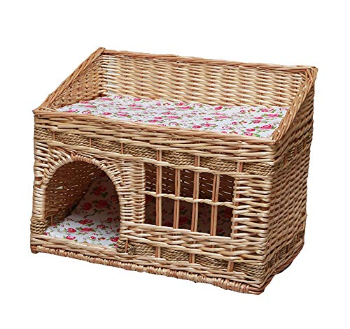 Vedem Pet Two Tier Rattan Wicker Cat House Handmade Cat Condo for Cats and Small Dogs (M, Natural)