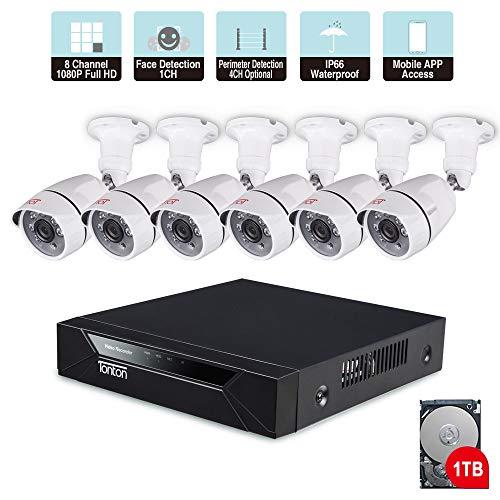Tonton - Sistema de videovigilancia 1080P Full HD 8CH DVR con 6 cámaras de vigilancia Exteriores 1080P, Carcasa de Metal, Salida HDMI VGA, Sistema de Seguridad para el hogar, Detector de Movimiento