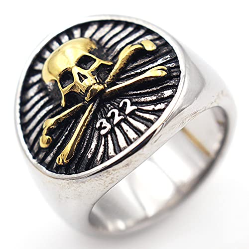 Anillos Fantasma Cráneo de Acero Inoxidable para Hombre Biker Rocker Ring Boy Heavy Metal Gothic Punk Jewelry Tamaño 7-13,Oro,12