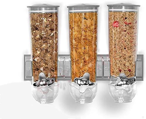 YUYIHAN Dispensador de Alimentos para el hogar, Fabricante de Cereales montado en la Pared, Fabricante de Cereales de Tres barriles, máquina de Avena, dispensador de Cereales (Plata)