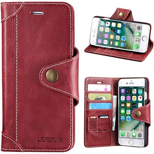 Lensun Cover iPhone SE 2020, Cover iPhone 7, Cover iPhone 8, Vera Pelle Cuoio Custodia Genuino Annata a Portafoglio con Chiusura Magnetico per iPhone 7 e iPhone 8 4.7' – Rosso Vino (7G-GT-WR)