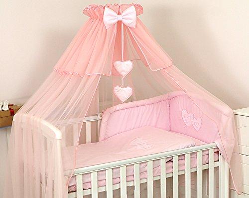 Pro Cosmo De Luxe Grande Moustiquaire Ciel de lit Baldaquin 480x150 cm + Support Flèche de lit + Cœurs décoratifs pour Lit de Bébé- Rose