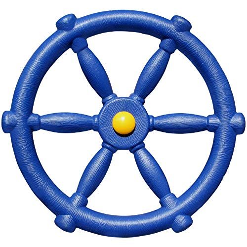 Jungle Gym Kingdom Playground Accessories - Pirate Ship Wheel for Kids Outdoor Playhouse, Treehouse, Backyard Playset Or Swingset - Wooden Attachments Parts (Blue)