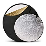 Zykkor 5-in-1 Reflector 22' with Gold, Silver, Translucent, Black & White Surfaces.
