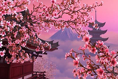 ジグソーパズル 1000ピース 満開の桜に囲まれる神社と世界遺産富士山 日本特有の風景 サイズ70×50cm