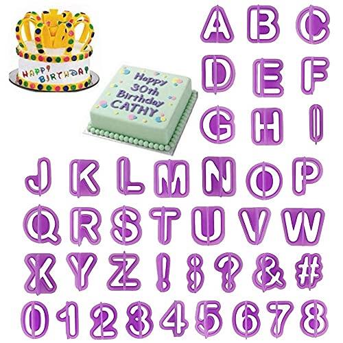40 Pezzi Stampini per Biscotti e Torte, Lettere Strumenti Decorare Torta, Alfabeto Biscotto Numero di Taglierina, Formine per Biscotti con Lettere e Numeri, per la Decorazione di Torte