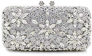Shoulder Bag Ms. Hand Bag Luxury Diamond Metal clad Crystal Diamond Ladies Evening Bag Hand Bag Handbag Clutch (Color : Silvery)