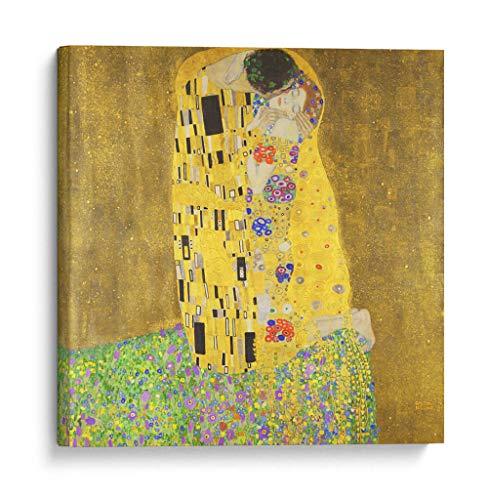 Cuadro decorativo de canvas (lienzo), El beso – Gustav Klimt – Arte famoso & Colorido, montado en…