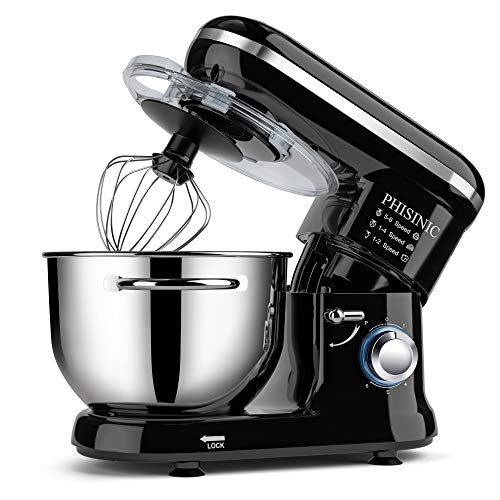 PHISINIC Küchenmaschine 1500W Knetmaschine Rührmaschine mit 5,5 L Edelstahlschüssel, 6 Geschwindigkeiten, Teigmaschine inkl. Knethaken, Schneebesen, Flachrührer und Spritzschutz, Schwarz