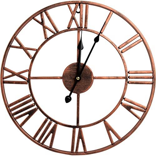Herdress Gran reloj de pared de metal, 40 cm, sin tictac, reloj de pared europeo vintage, con números romanos, funciona con pilas, reloj decorativo para casa, cocina, café