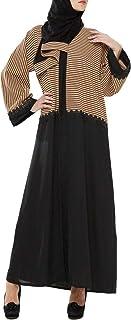 Arabeska Abaya For Women - M, Black And Brown, Arb-37
