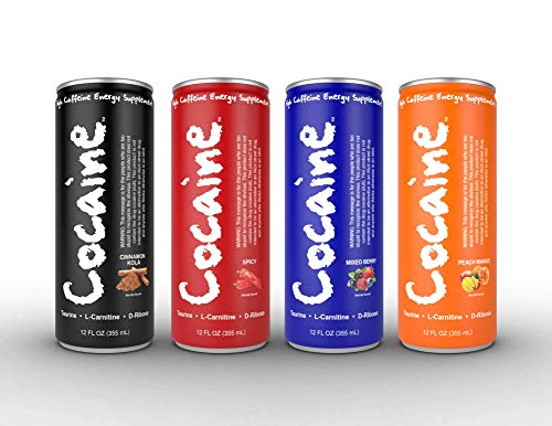 Cocaine Energy Drinks 12 ounce cans 12 packs (4 Flavor Variety Pack)