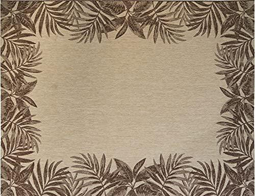 Gertmenian 21261 Nautical Tropical Outdoor Patio Rugs, 8x10 Large, Palm Tree Border