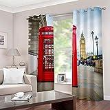 Mtoed Cortinas Opacas Térmicas Aislantes Frío Y Calor para Salón Dormitorio Moderno con Ojales, Impresión Cabina Telefónica Roja En Londres 3D Cortinas De Salon para Habitacion 220X210cm 2 Pieza
