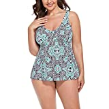 FULLFITALL Women's Plus Size Tankini Swimsuit Print Bathing Suits with Shorts Swimwear