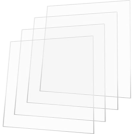"""AA Acrylic Sheet (3 mm, 6 X 6, Transparent) 3 mm Transparent 6""""x 6"""" Pack of 5 pcs for Glass Painting High Gloss."""