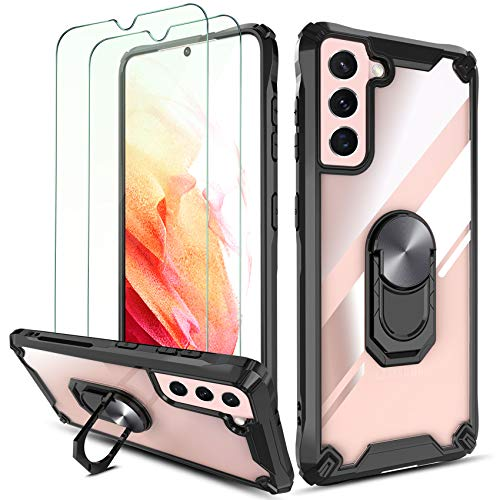"""QHOHQ Case for Samsung Galaxy S21 5G 6.2"""" with 2 Pack Tempered Glass Screen Protector,[360° Rotating Stand] [5 Times Military Grade Anti-Fall Protection],Transparent Hard PC Back, Soft TPU Edge-Black"""