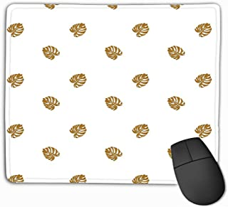 Custom Mouse Pad,11.81 X 9.84 Inch Unique Printed Mouse Mat Design Beach Cheerful Wallpaper Tropical Dark Yellow Leaves Palm Trees White Hipster Beach