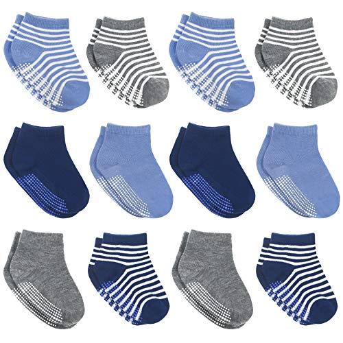 12 pares de calcetines antideslizantes con agarres para bebés y niños – Calcetines antideslizantes para bebés y niños, Niños Soild+ rayas, 12-36 Meses
