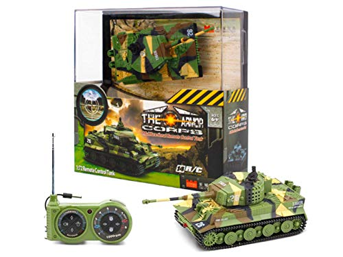 Remote Control Mini Tank,Rechargeable German Tiger RC with Sound and Moving Turret Recoil Action When Artillery Shoots,for Kids and Adults Mini RC Tank 1:72 Scale.