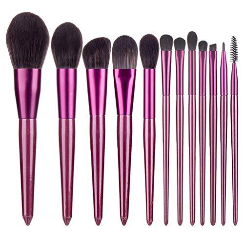 Beaupretty 12 Pcs Maquillage Pinceaux Queue Pointue Portable Manche en Bois Brosse Ensemble pour Kabuki Mélange Visage Poudre Blush Anti-Cernes Ombres à Paupières Violet