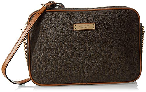 Michael Kors - Jet Set Travel Logo Crossbody, Bolsos bandolera Mujer, Marrón (Brown), 5x16.5x24.1 cm (B x H T)
