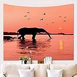 KHKJ Elefante de pastizales africanos Impresiones de Atardecer de Noche Tapiz Colgante de impresión de Vida Tapiz de Pared decoración para Colgar en la Pared A7 200x180cm