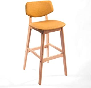 HLL Taburetes, con respaldo, tapizado, reposapiés, asiento amarillo, silla de comedor para desayunador, cocina, hogar, tab...