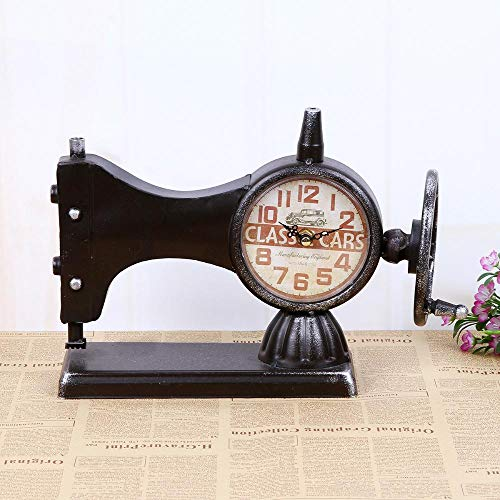 Olydmsky Reloj Antiguo de Mesa,Modelos máquina de Coser Cara Reloj máquina de Coser Antigua Reloj Creativo decoración casera 33 * 12 * 23 cm