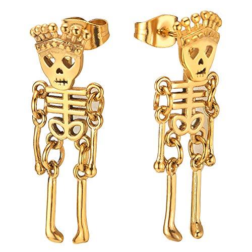 Hombres Mujer Oro Corona Cráneo Esqueleto óseo Pendientes, Acero Inoxidable, 2 Piezas