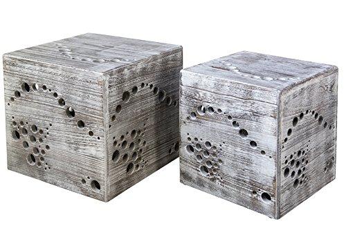 PEGANE Lot de 2 poufs en Bois Coloris Gris - Dim : 45 x 45 x 45 cm/ 41 x 36 x 36 cm