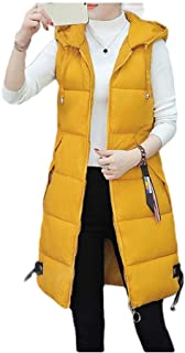 neveraway Womens Lounge Hooded Solid Color Plus Size Mid Long Quilted Vest