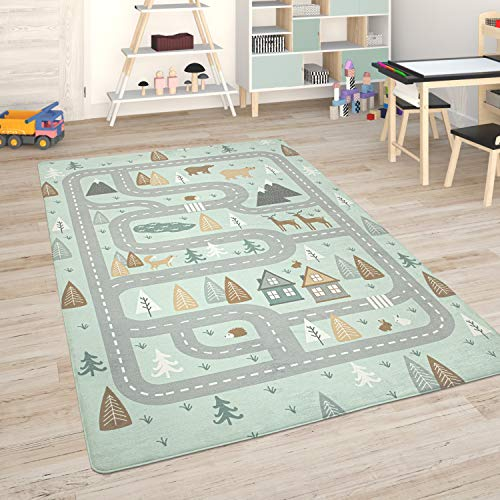 Paco Home Alfombra para Habitación Infantil Juegos Bebé Alfombras Infantiles Carreteras, tamaño:155x230 cm, Color:Turquesa